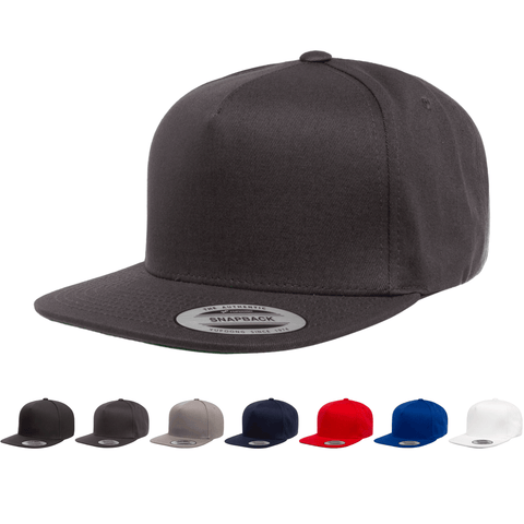 Yupoong 6007 5-Panel Cotton Twill Snapback Hat, Flat Bill Cap