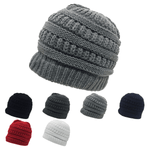 Messy Bun Ponytail Beanie Ribbed Knit Cap - Decky 617