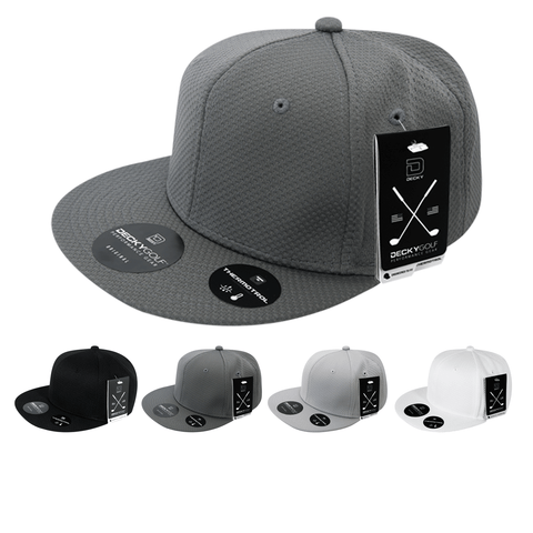 Dimple Pattern Snapback Hat Flat Bill - Golf & Sports Cap - Decky 6203