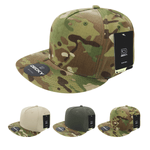 MultiCam Camo 5 Panel Snapback Hat Flat Bill Cap - Decky 6303