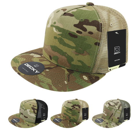 MultiCam Camo 5-Panel Trucker Hat Flat Bill Snapback Cap - Decky 6304