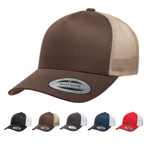 Yupoong 6506T 5-Panel Retro Trucker Hat, Baseball Cap with Mesh Back, 2-Tone Colors
