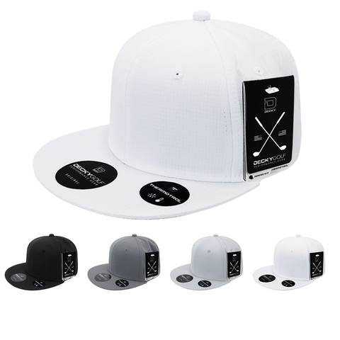 Grid H20 Snapback Hat Flat Bill - Golf & Sports Cap - Decky 7103