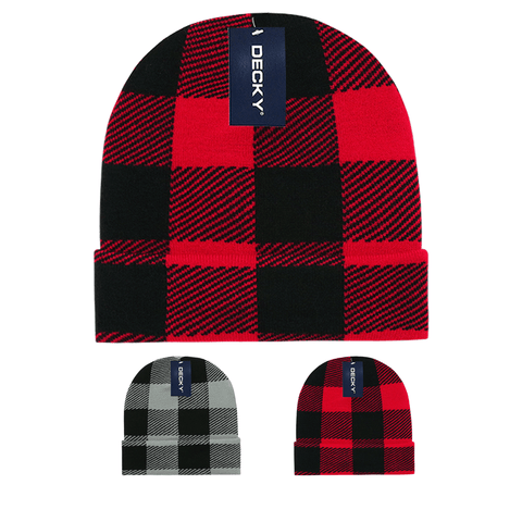 Buffalo Plaid Knit Beanies (with cuff) - Decky 8027