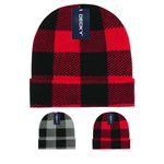 Lot of 12 Decky Buffalo Plaid Beanies Knit Caps Red Plaid Buffalo Check Bulk (with cuff)