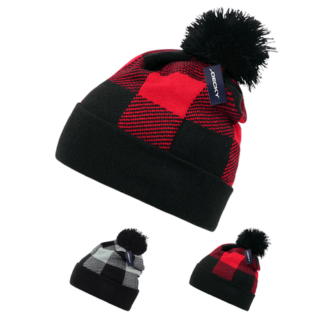 Lot of 6 Decky Buffalo Plaid Pom Beanies Knit Caps Red Plaid Buffalo Check Bulk