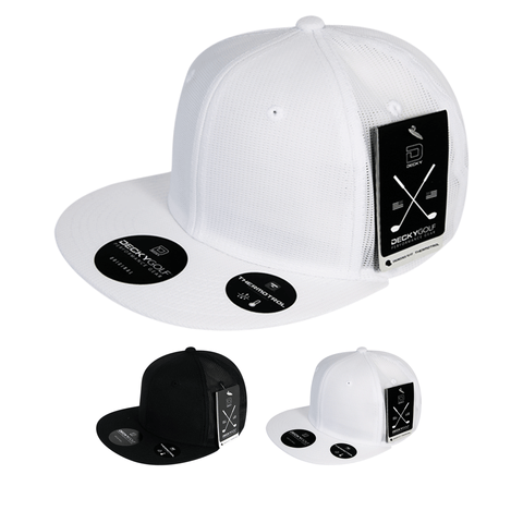 Screen Fabric Snapback Hat Flat Bill - Golf & Sports Cap - Decky 8103