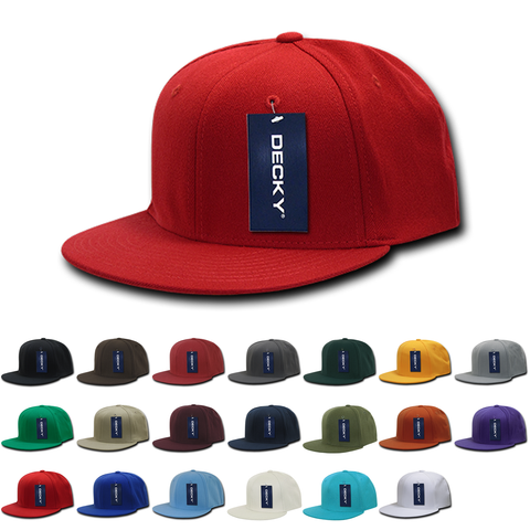 Blank Flex Flat Bill Hats, Stretch Back Cap - Decky 873