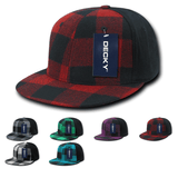 Buffalo Plaid Flex Snapback Flat Bill Hats - Decky 903