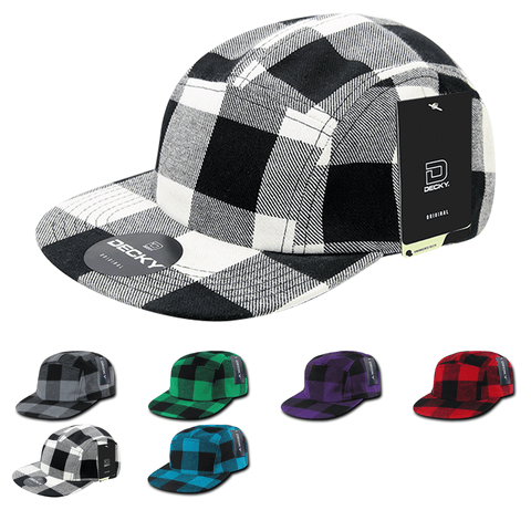 5-Panel Racer Racing Jockey Hat Camper Cap Buffalo Plaid - Decky 984