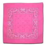 Cotton Bandanas - Pack of 12 - Pink Paisley - Bandanna