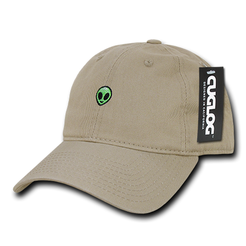 Alien UFO Baseball Cap Dad Hat, 100% Cotton, Khaki