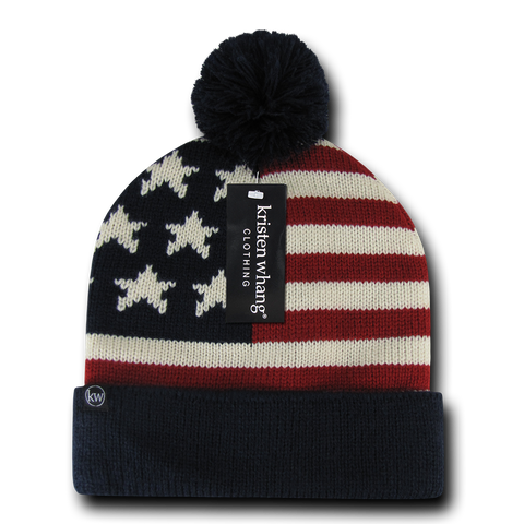 US Flag Knit Beanie, USA American Flag Knit Cap with Pom Pom