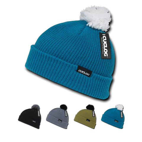 Everest Beanie, Knit Cap, Cuffed Beanie with Pom - Cuglog K002