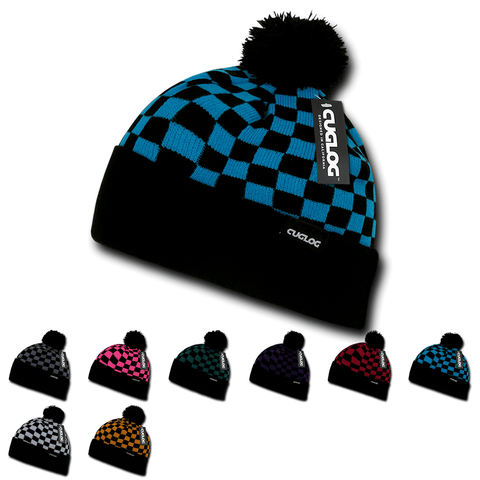 Changbai Checker Beanie, Plaid Knit Cap, Soft Cuff Beanie with Pom Pom - Cuglog K019