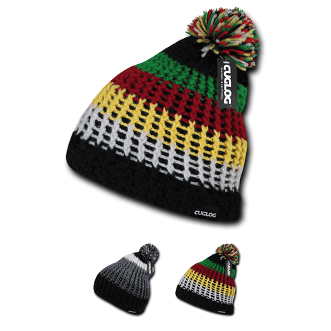 Matterhorn Beanie, Knit Cap, Thick Knitting with Pom Pom - Cuglog K024