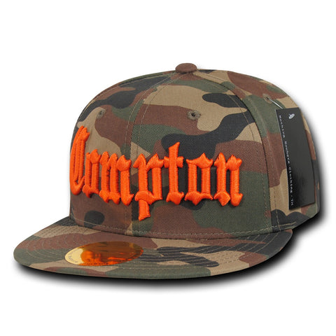 Compton City Camo Snapback Flat Bill Hat, Camo/Orange