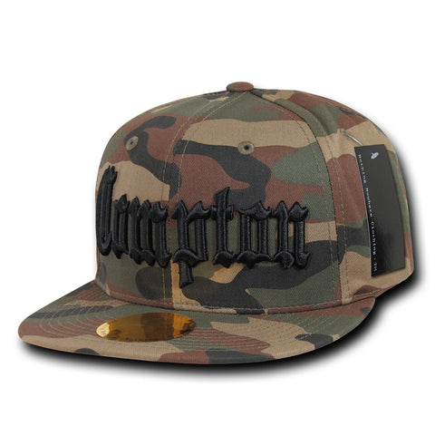 Compton City Camo Snapback Flat Bill Hat, Camo/Black