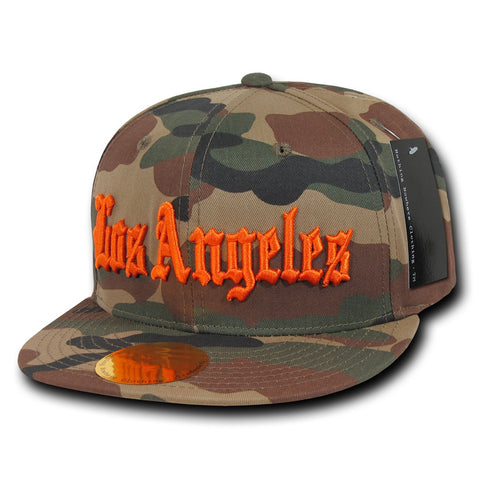 Los Angeles LA City Camo Snapback Flat Bill Hat, Camo/Orange