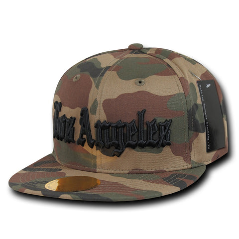 Los Angeles LA City Camo Snapback Flat Bill Hat, Camo/Black