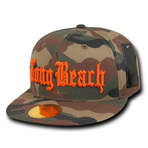 Long Beach City Camo Snapback Flat Bill Hat, Camo/Orange