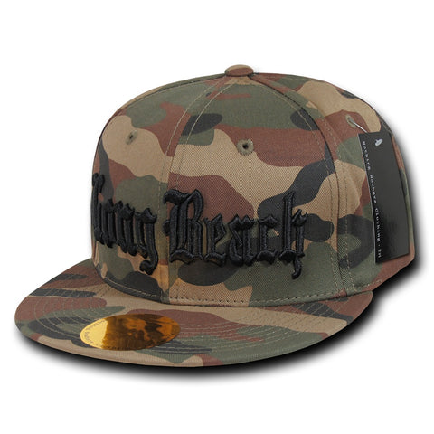 Long Beach City Camo Snapback Flat Bill Hat, Camo/Black