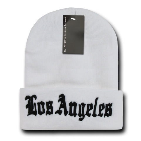 Los Angeles LA City Beanie Knit Cap, White/Black