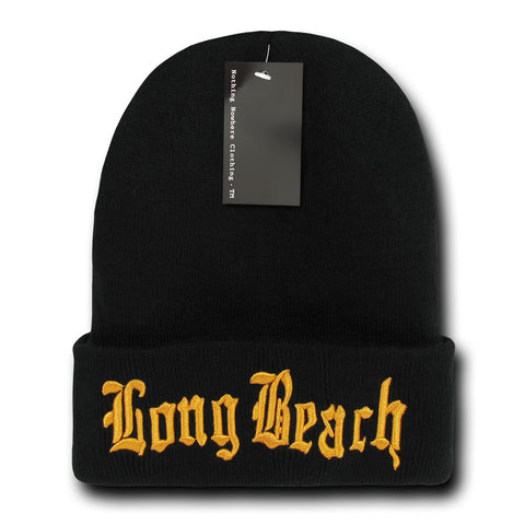 Long Beach City Beanie Knit Cap, Black/Orange