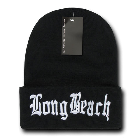 Long Beach City Beanie Knit Cap, Black/White