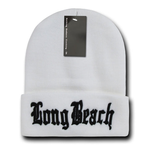 Long Beach City Beanie Knit Cap, White/Black