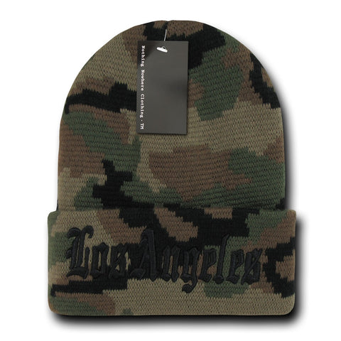 Los Angeles LA City Beanie Knit Cap, Camo/Black
