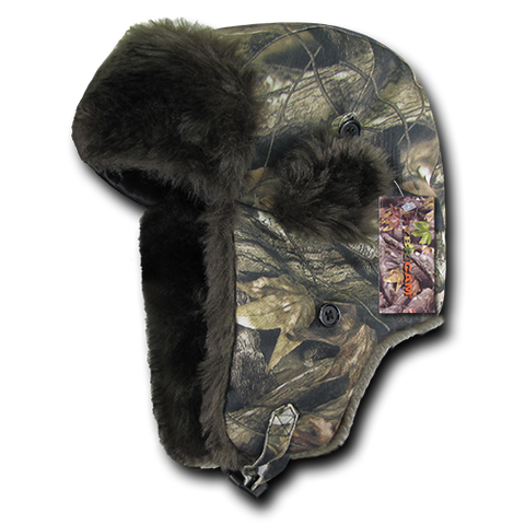 Hybricam Camo Aviator Hat, Faux Fur Trapper Hat, Tree Bark Camo - Rapid Dominance R42