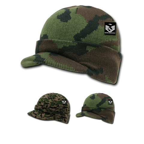 Camo Beanie Jeep Knit Watch Cap Visor GI Military Camouflage - Rapid Dominance R604