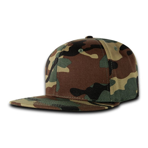 Fitted Flat Bill Hat, Retro Fitted Cap - Camo - Decky RP1