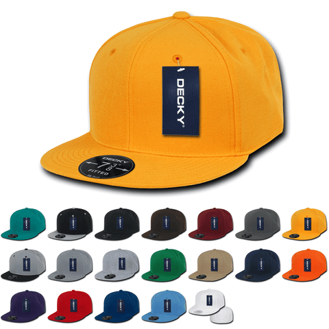 Blank Fitted Snapback Flat Bill Hats (6 7/8 - 7 1/4) - Decky RP1