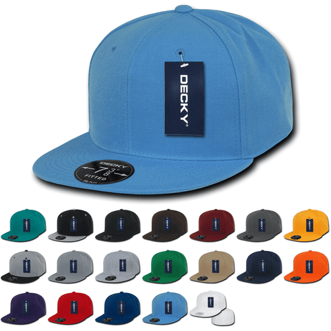 Blank Fitted Snapback Flat Bill Hats (7 3/8 - 7 3/4) - Decky RP1