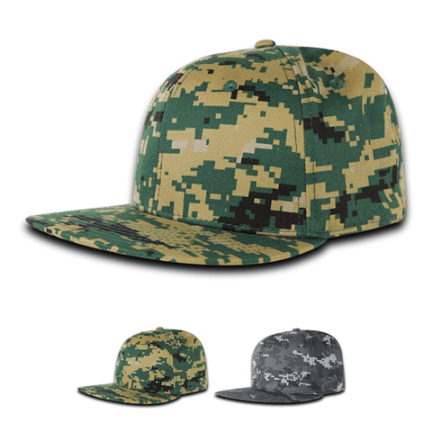 Fitted Flat Bill Hat, Retro Fitted Cap - Digital Camo - Decky RP1