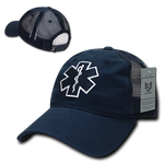EMT Cross Trucker Hat Relaxed Mesh Baseball Cap Paramedic Star of Life - Rapid Dominance S79