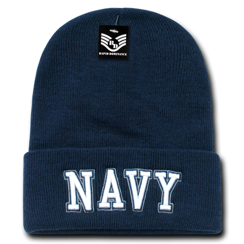 United States Navy Beanie, Navy Knit Cap, USN Beanie, Navy Text - Rapid Dominance S81