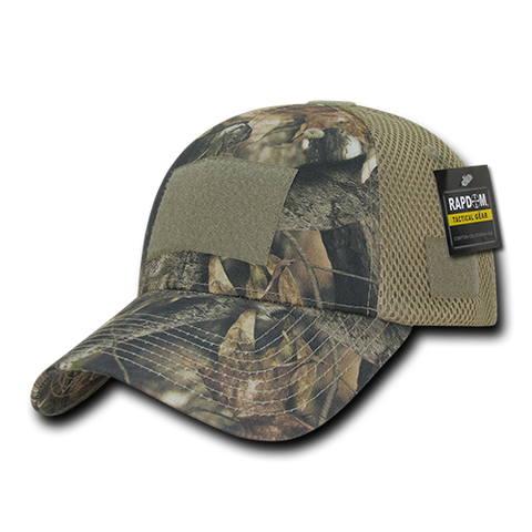 HYBRiCAM Camo Air Mesh Tactical Operator Hat, Patch Cap, Tree Bark Camo - Rapid Dominance T86