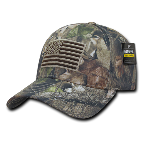 HYBRiCAM Camo Structured Tactical Hat, US Flag Cap, Tree Bark Camo - Rapid Dominance T87