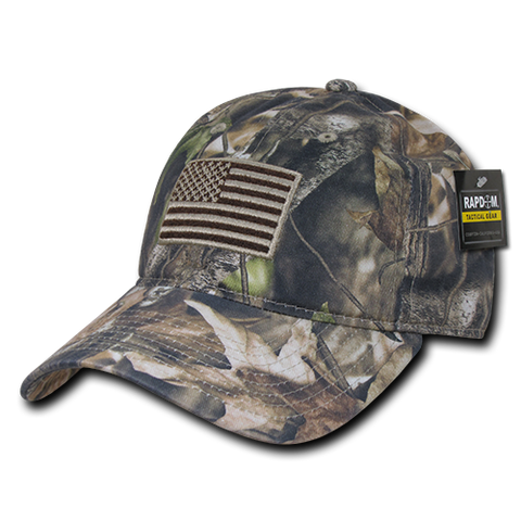 HYBRiCAM Camo Relaxed Tactical Hat, US Flag Cap, Tree Bark Camo - Rapid Dominance T89
