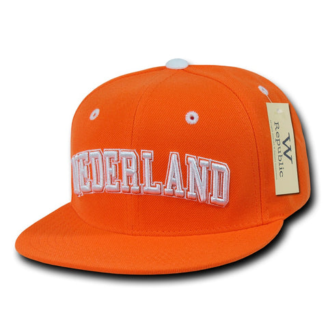 Nederland Netherlands Hat Snapback Flat Bill Country Cap - WR101