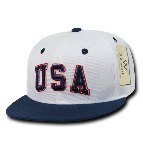 USA United States of America Hat Snapback Flat Bill Country Cap - WR101