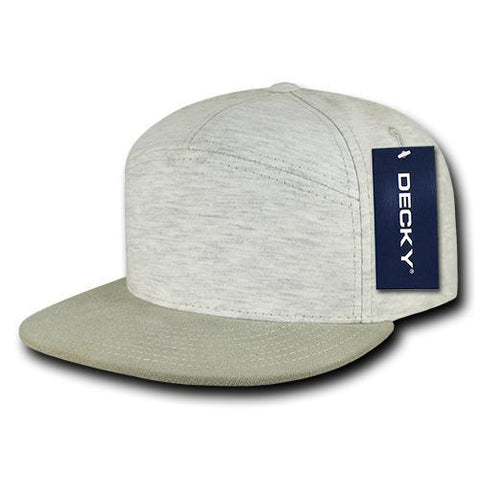 Wholesale Bulk Blank 7 Panel Heather Jersey Snapback Flat Bill Hat - Decky 1140
