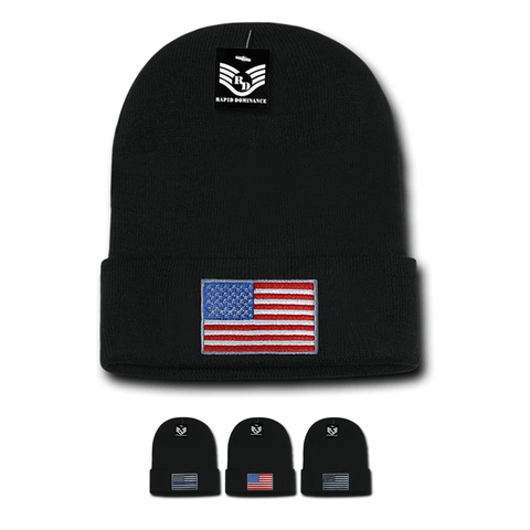 Wholesale Bulk American Flag USA Knit Beanies (Cuff) - R94