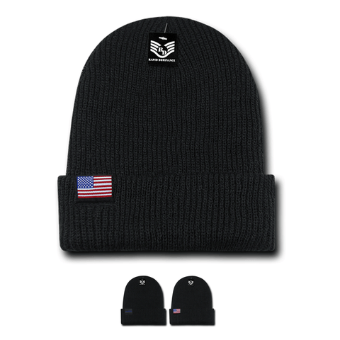 Wholesale Bulk American Flag Label USA Beanies - R96