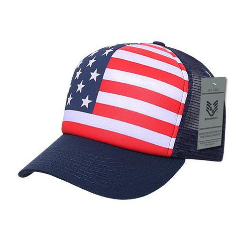 Wholesale Bulk American Flag USA Trucker Foam Mesh Hat - A11