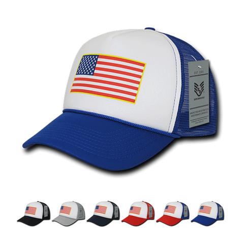 Wholesale Bulk American Flag USA Trucker Foam Mesh Hat - A10