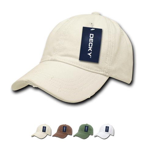 Wholesale Bulk Blank Fitted Distressed Polo Dad Hats - Decky 860
